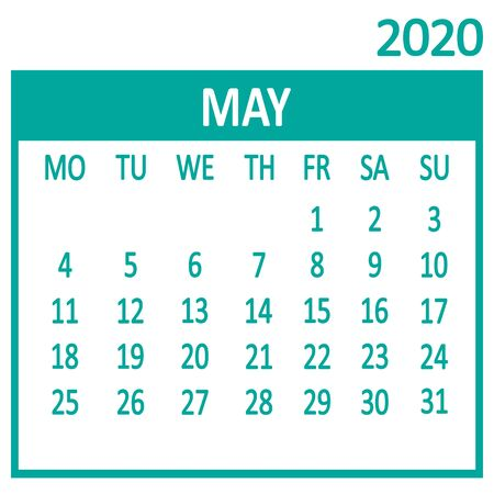 May. Fifth page of set. Calendar 2020, template. Week starts from Monday. Vector illustration