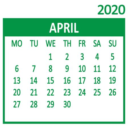 April. Fourth page of set. Calendar 2020, template. Week starts from Monday. Vector illustration