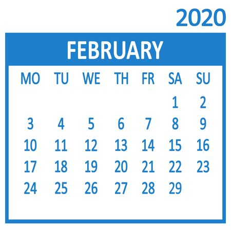 February. Second page of set. Calendar 2020, template. Week starts from Monday. Vector illustration