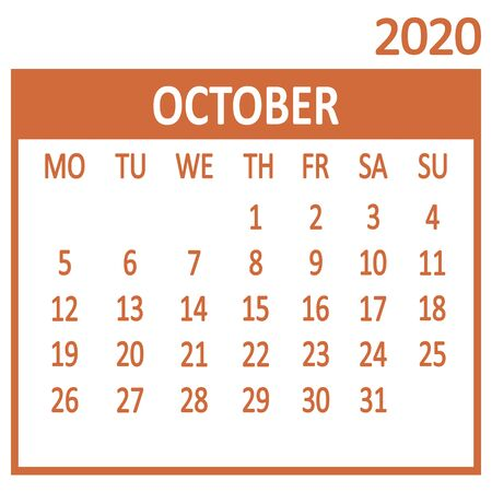 October. Tenth page of set. Calendar 2020, template. Week starts from Monday. Vector illustration