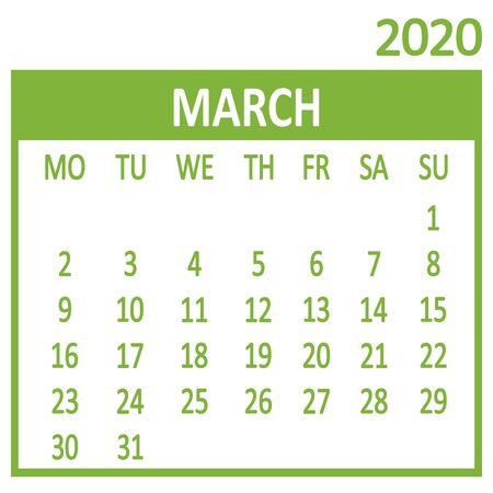 March. Third page of set. Calendar 2020, template. Week starts from Monday. Vector illustration