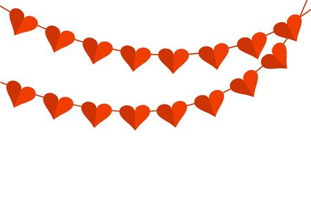 Holiday garland with red paper hearts for Saint Valentines Day. Space for your text. Vector illustration