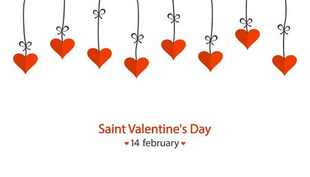 Saint Valentines Day greeting card. Cartoon red hearts hanging. Vector illustration
