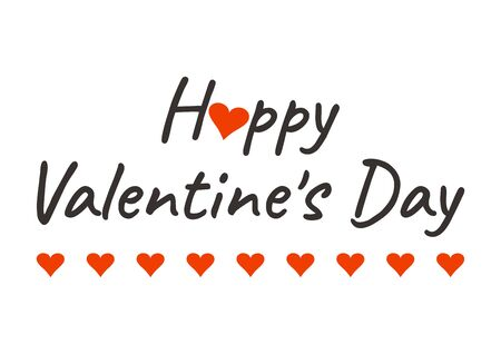Inscription Happy Valentines Day greeting card with red hearts. Vector illustration