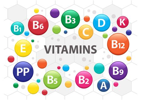 Colorful multivitamin complex for health. Vitamin A, B1, B2, B3, B5, B6, B9, B12, C, D, E, K, PP. Vector illustration 向量圖像