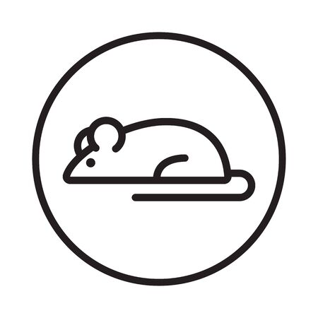 Mouse icon. Black sign in circle, outline design. Vector illustration
