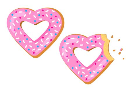 Saint Valentine's Day. Holiday sweet donut with pink glaze in shape heart, bitten donut. View from above. Vector illustration