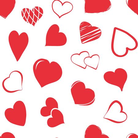 Holiday seamless pattern with red hearts hand drawn. Vector illustration 向量圖像