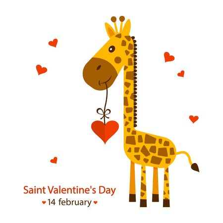 Saint Valentines Day greeting card. 14 february. Cute giraffe with heart. Vector illustration