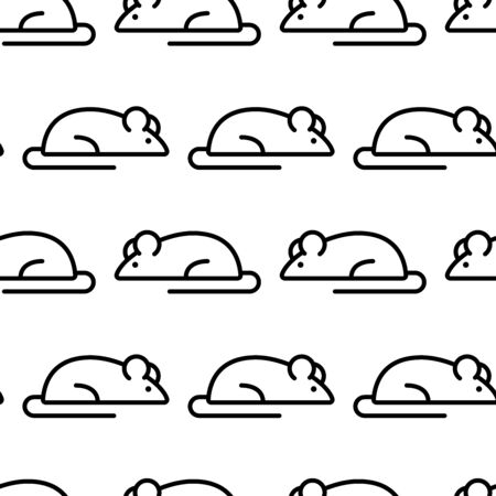 Seamless pattern with mouses, black and white line art. Vector illustration