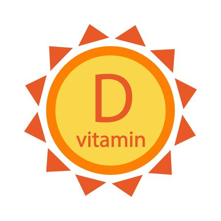 Vitamin D, colored sun icon isolated on white background, Vector illustration