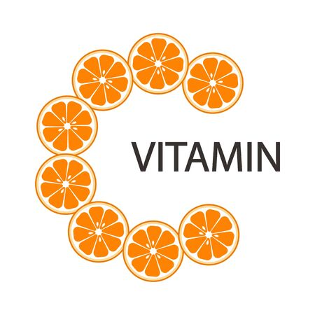 Vitamin C icon, citrus fruits, isolated on white background. Vector illustration 向量圖像