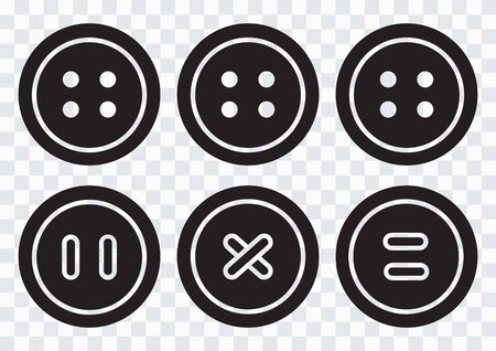 Black round clothing buttons with thread on transparent background. Vector illustration 向量圖像