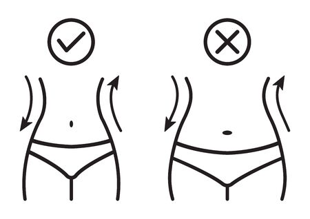 Fat and slim woman figure, before and after weight loss. Female body silhouette. Women waist, weight loss, diet, waistline line icon. Vector illustration