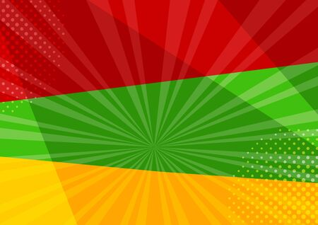 Comic colorful background with halftone shadow in pop art style. Red, green and yellow colors. Vector illustration