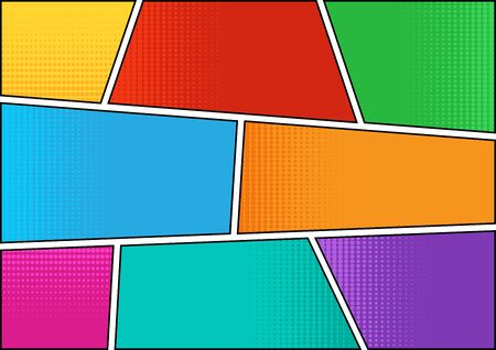 Colorful comic background in pop art style, halftone shadow, blank template. Vector illustration