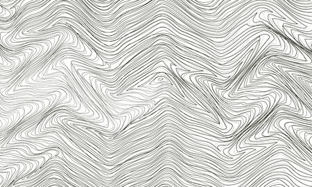 Abstract background with curves thin lines, wavy striped pattern. Black and white design. Vector illustration