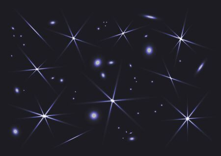 Space sparks and stars shine, special light effect, silver magical elements on dark background. Starry night sky. Vector illustration