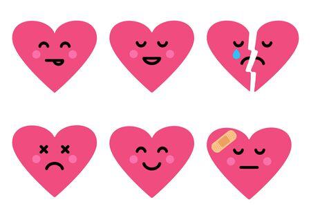 Hearts happy, broken and sad, different emotions. Vector illustration 向量圖像