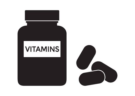 Vitamins bottle with pills. Multivitamin complex supplement. Black silhouette isolated on white background. Vector illustration