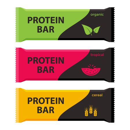 Protein bars with different flavors. Organic, tropical and cereal. Sport and fitness supplements. Vector illustration