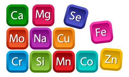 Mineral complex for health. Calcium, magnesium, zinc, iron, manganese, cobalt, copper, potassium, molybdenite, chromium, silicon, selenium. Colorful square buttons. Vector illustration