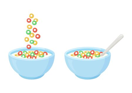 Cereal breakfast, healthy food, colorful crisp rings in milk. Ceramic bowl with falling sweet flakes and spoon. Vector illustration