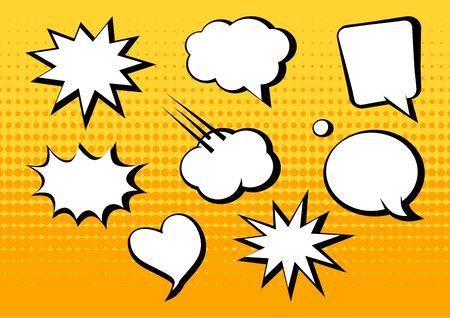 White blank comic speech bubbles on yellow background in pop art style. Vector illustration 向量圖像