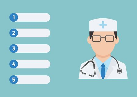 Medical notes. Online doctor concept. Health care and medicine. Vaccination reminder or first aid or family therapist, infographics, home doctor call. Vector illustration 向量圖像