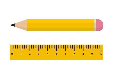 Yellow pencil and ruler isolated on white background. Vector illustration