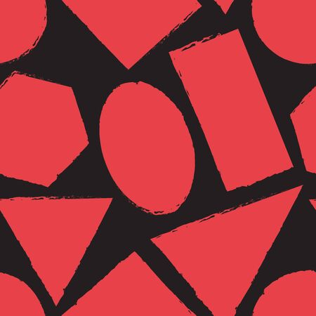 Geometric grunge seamless pattern with different shapes. Vector illustration 向量圖像