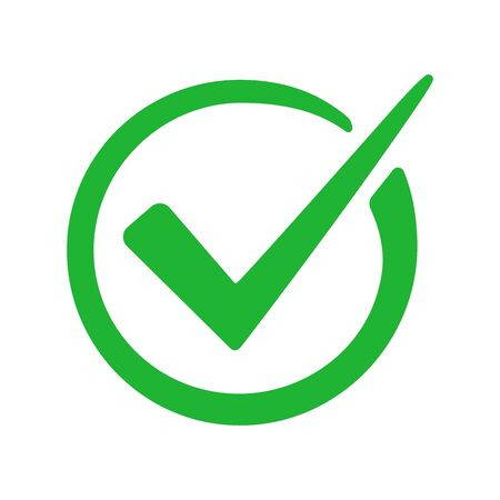 Check mark green icon isolated on white background. Vector illustration Vettoriali