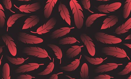 Abstract decorative banner with red feathers on dark background, color gradient. Vector illustration