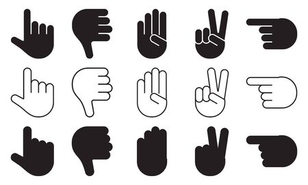 Different hands gestures of human, set of black and white icons, flat design, outline, silhouettes. Vector illustration 向量圖像