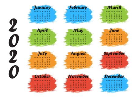 Colorful template yearly calendar 2020. Week starts from Sunday. Vector illustration Ilustrace