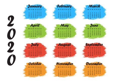 Colorful template yearly calendar 2020. Week starts from Monday. Vector illustration