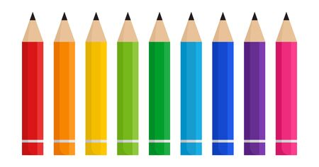 Colorful pencils isolated on white background. Vector illustration