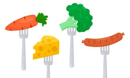 Healthy and unhealthy food, diet, vegetables carrots, broccoli and cheese, sausage on forks. Vector illustration