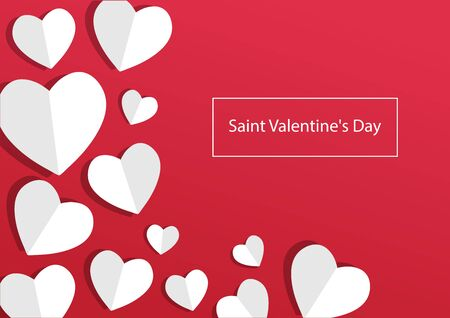 Holiday banner for Saint Valentines Day, greeting card with paper hearts on red background. Vector illustration 向量圖像