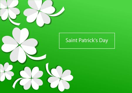 Holiday banner for Saint Patricks Day, greeting card with paper clovers on green background. Vector illustration 向量圖像