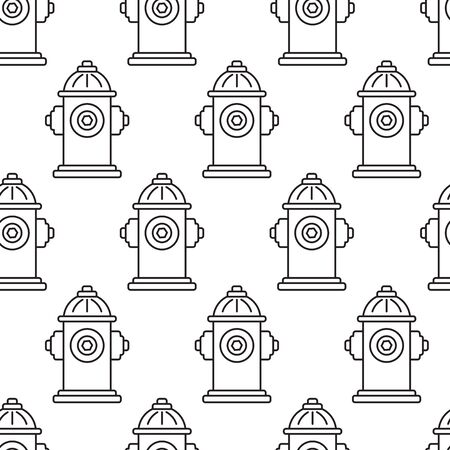 Abstract geometric seamless pattern with hydrants, line art. Vector illustration