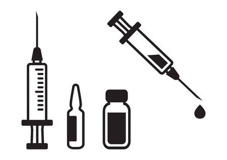 Syringe, vial, vaccine. Medical bottle and ampoule. Injector with drop liquid. Vector illustration