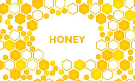 Sweet honey background, golden hexagons pattern. Frame for your text. Vector illustration