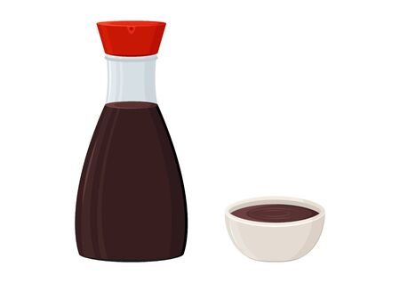 Soy sauce glass bottle and bowl isolated on white background. Vector illustration 向量圖像
