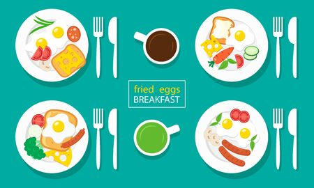 Fried eggs breakfast. Sausages, toasts, cheeses, vegetables. Coffee and tea. Vector illustration 向量圖像