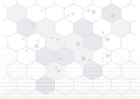 Abstract background with hexagons and dots halftone, gray and white colors. Vector illustration