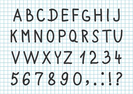 Black font hand drawn alphabet, numbers and characters on checkered notebook background. Vector illustration