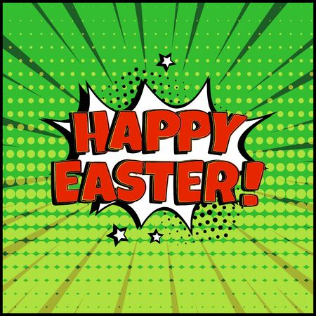 White comic bubble with Happy Easter word on green background. Comic sound effect, stars and halftone dots shadow in pop art style. Vector illustration 向量圖像