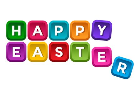 Happy Easter. Colorful buttons with white letters isolated on white background. Vector illustration 向量圖像