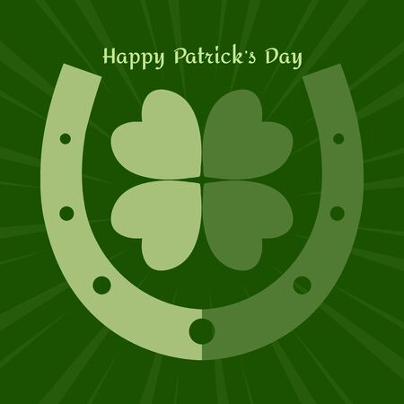 Holiday banner for Saint Patricks Day. Green horseshoe and clover leaf. Vector illustration